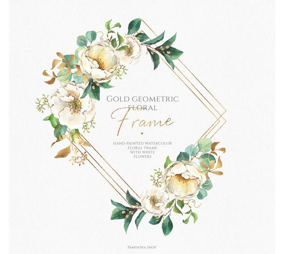 Floral frame clip art, watercolor flowers, geometric gold.