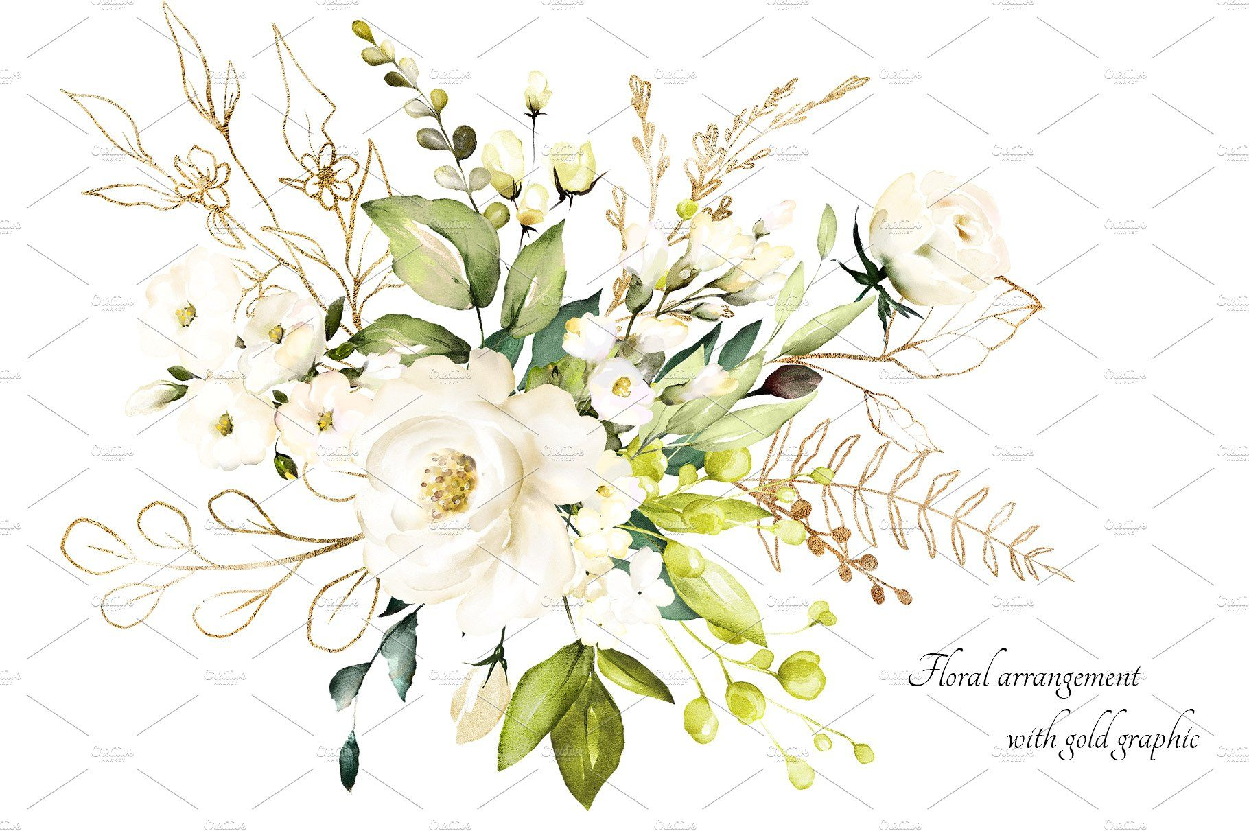 ad: White roses. Watercolor floral set by Lisima on.