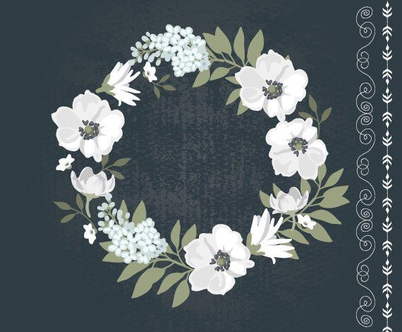 Vintage Black and White floral wreath clipart / wedding.