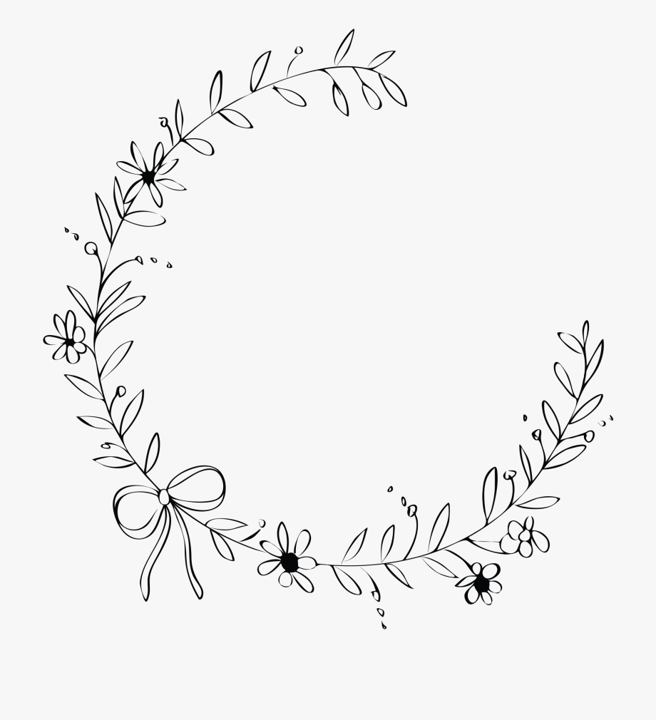Flower Wreath Black And White.