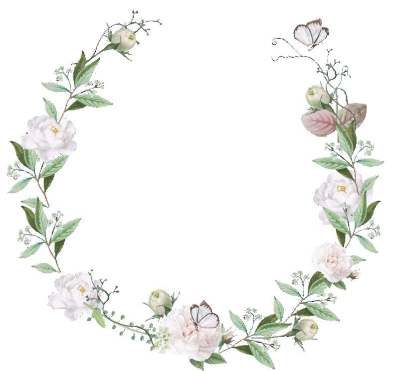 White Clip Art Wedding Wreath Greenery White Flowers Frame Invitation  Wreath Botanical Clip Art White Roses.
