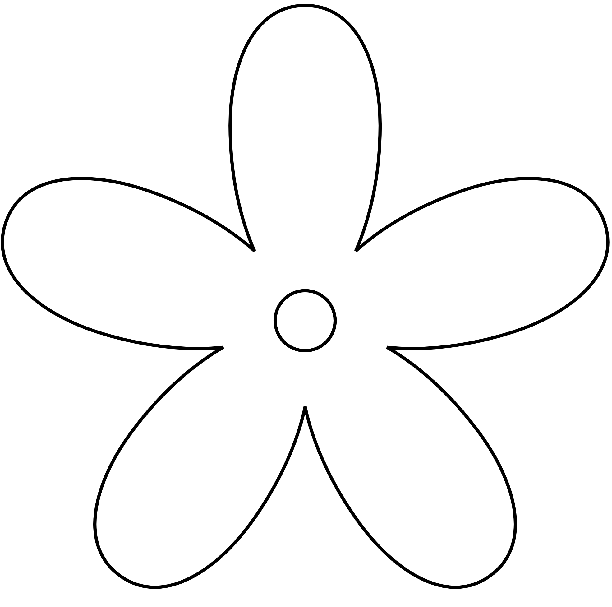 Simple Black And White Flower Clipart.