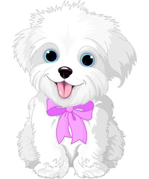 Free clipart white fluffy dog.