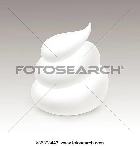 Clip Art of Vector White Foam Cream Mousse Soap Lotion Isolated on.