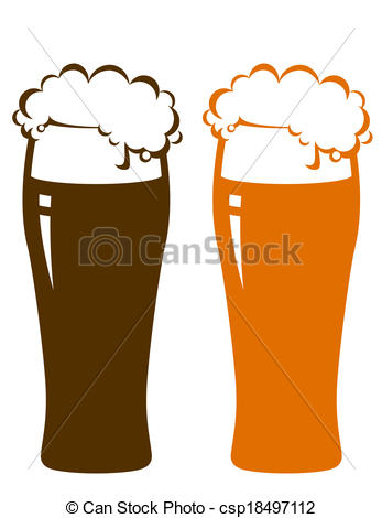 Vector Clip Art of beer glasses with foam on white background.