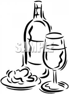 Black and White Glass and Bottle of Wine With Food Clip Art.