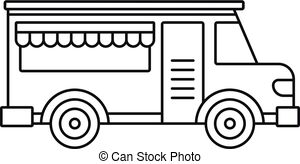 American food truck icon, outline style. American food truck.