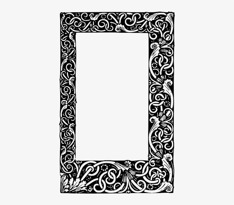 Black, Tribal, Frame, White, Border, Free, Rectangle.