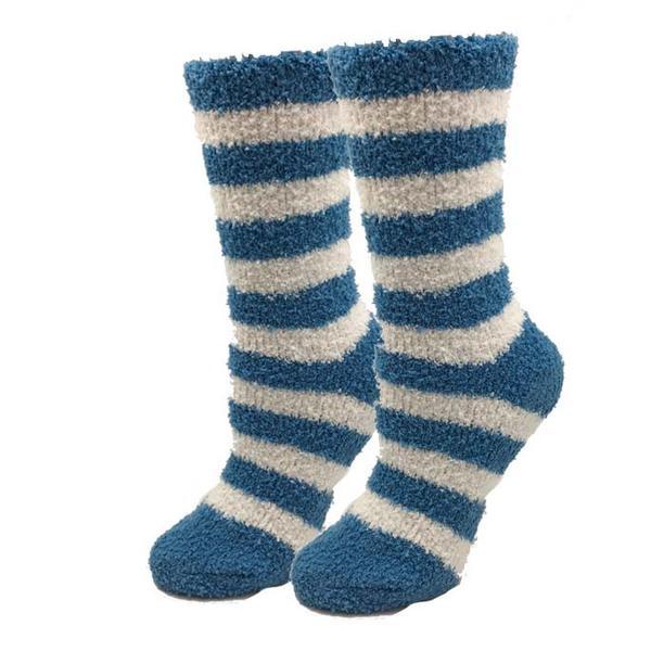 Sky Blue Striped Fuzzy Socks.