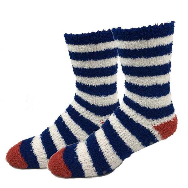 Navy Stripe Fuzzy Socks.