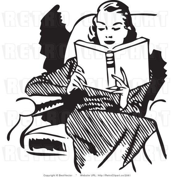 Royalty Free Black and White Retro Vector Clip Art of a Woman.