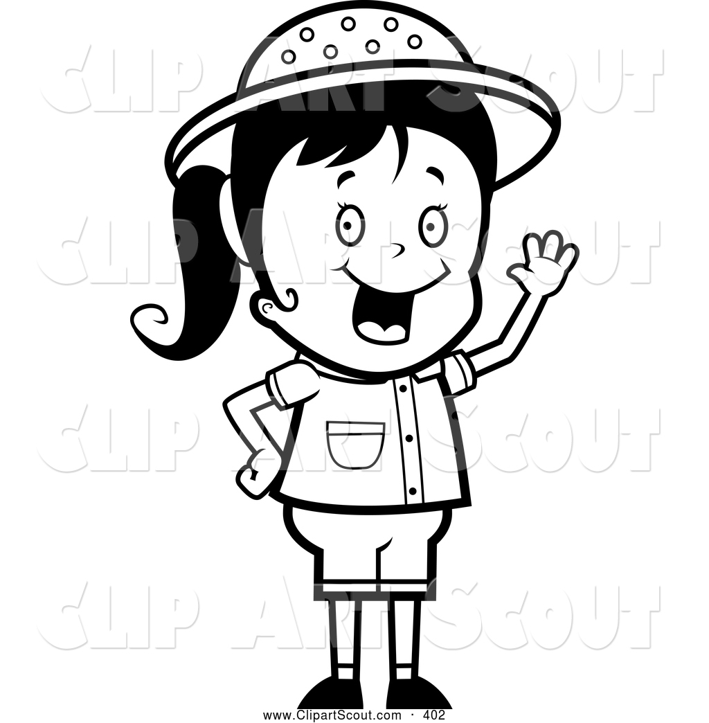 Black And White Girl Clipart#1918957.