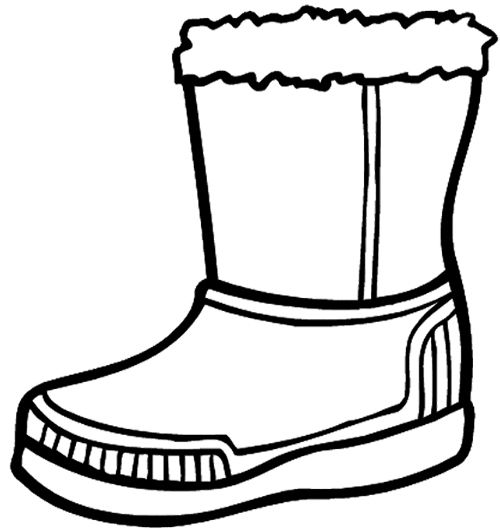 Winter Boots Large Coloring Page.
