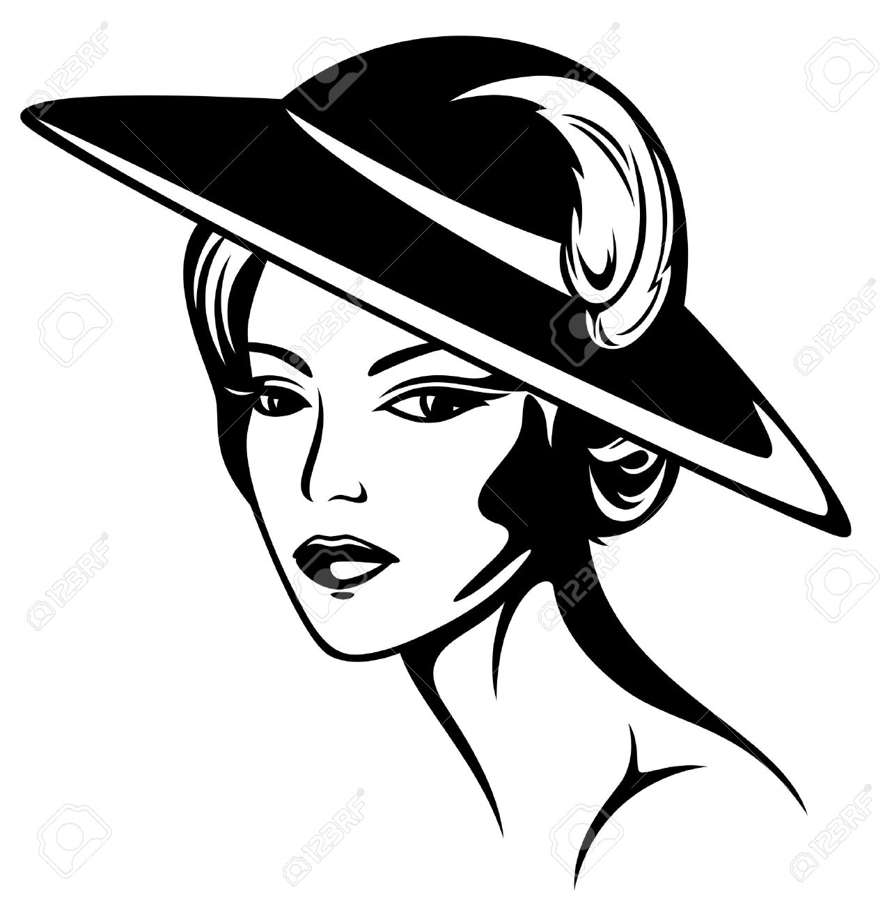 Clipart of girl in hats and scarf black white.
