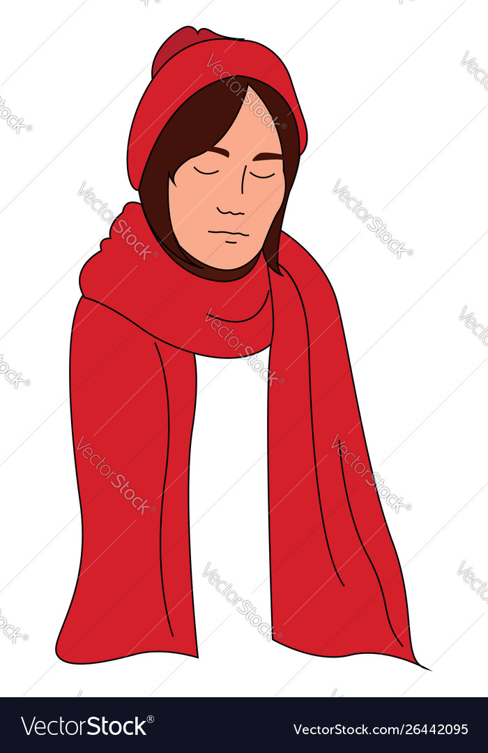 Woman with red scarf on white background.