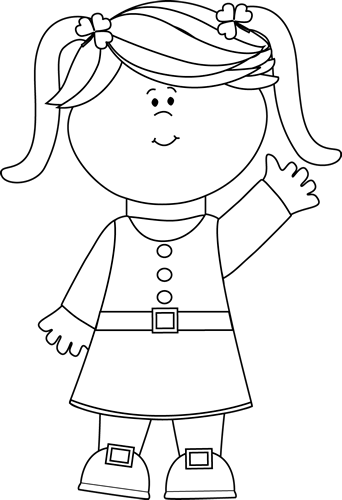 Black and white clipart of girls.