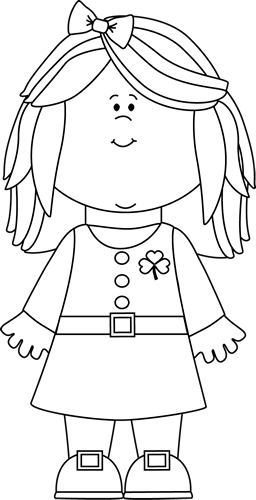 Little Girl Black And White Clipart.