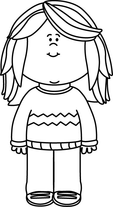 Black and White Girl Wearing a Sweater Clip Art.