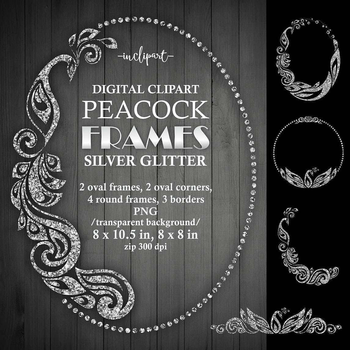 Peacock frame clipart. Digital Silver glitter oval, round.