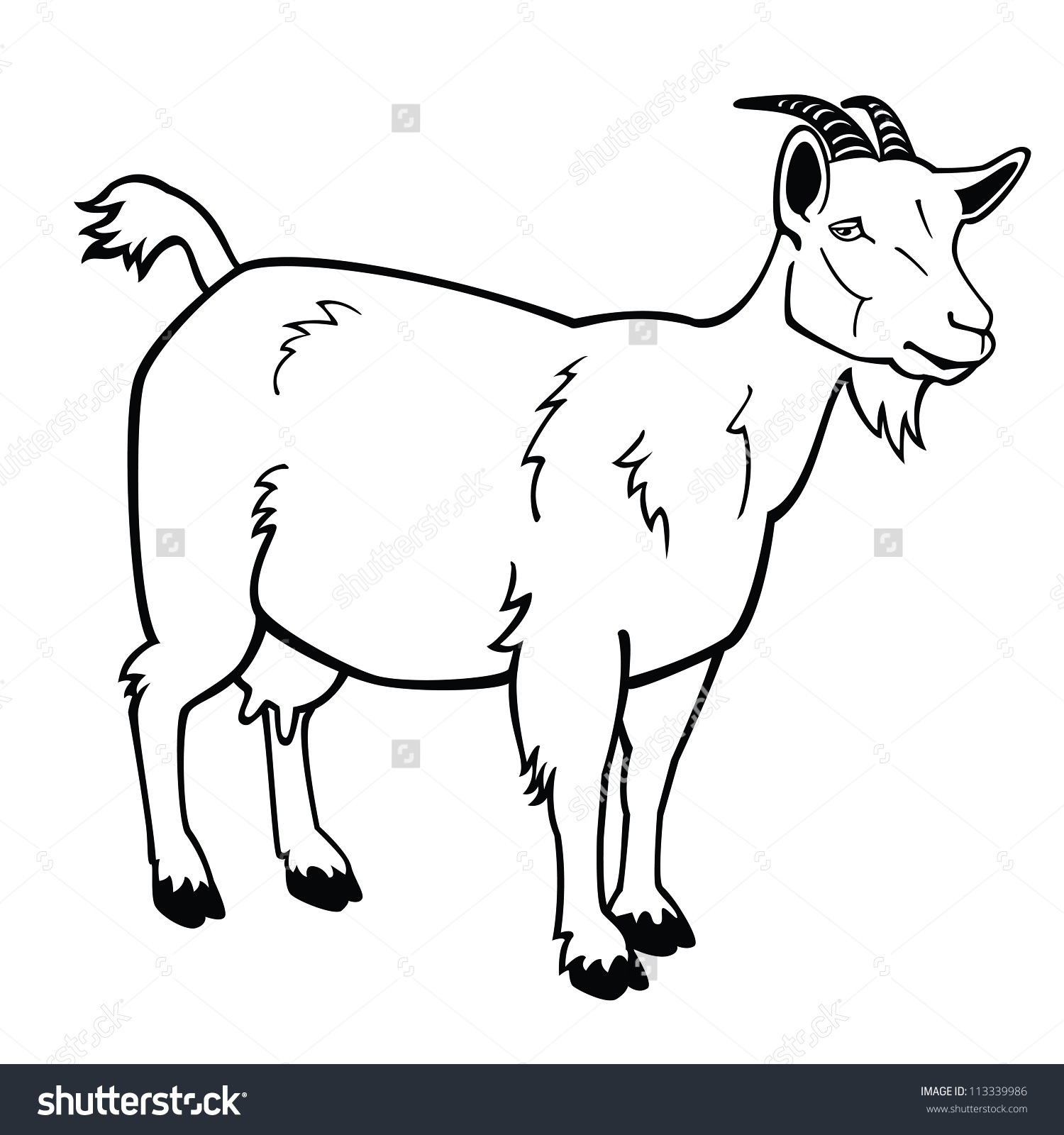 Similiar Black And White Cartoon Goat Keywords.