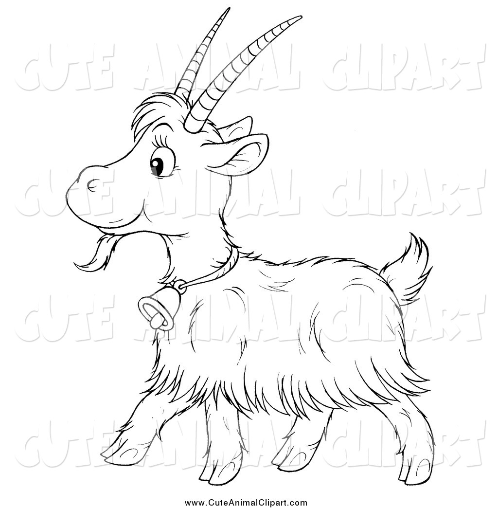 Cute goat clipart black and white.