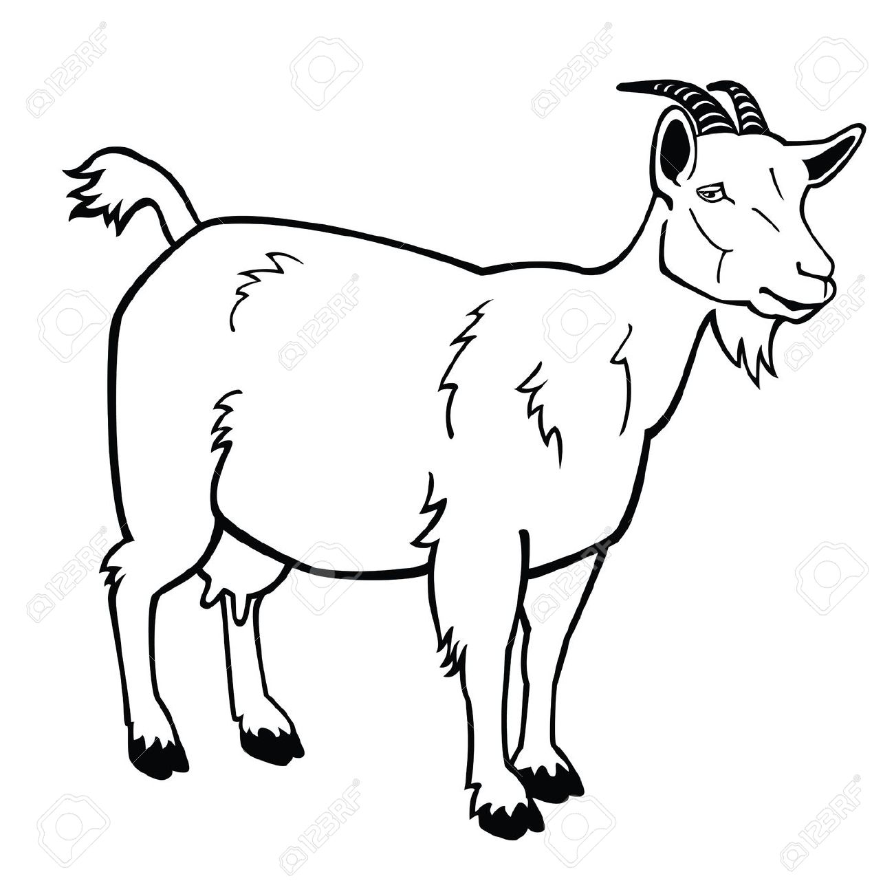 Black and white goat clipart.