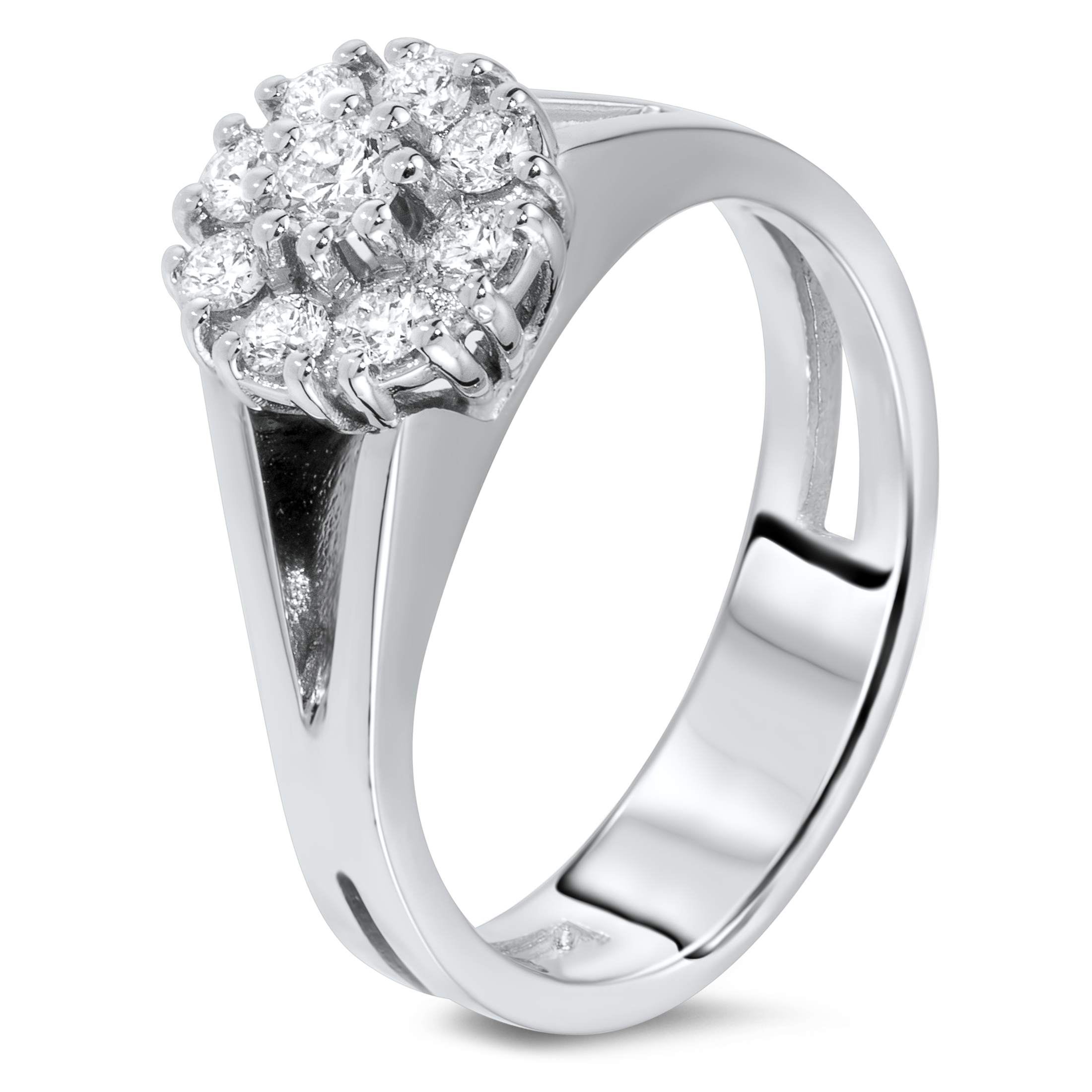 Diamond ring in 18k white gold.
