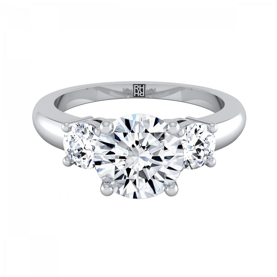 Diamond 3 Stone Engagement Ring In 14k White Gold (1/4 Ct.tw.).