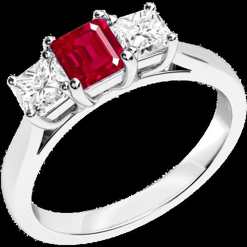 Three stone ruby & diamond ring in 18ct white gold.