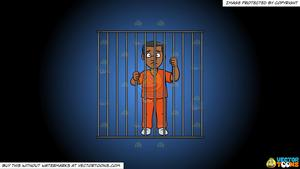 Clipart: A Black Man Behind Bars on a Blue And Black Gradient Background.