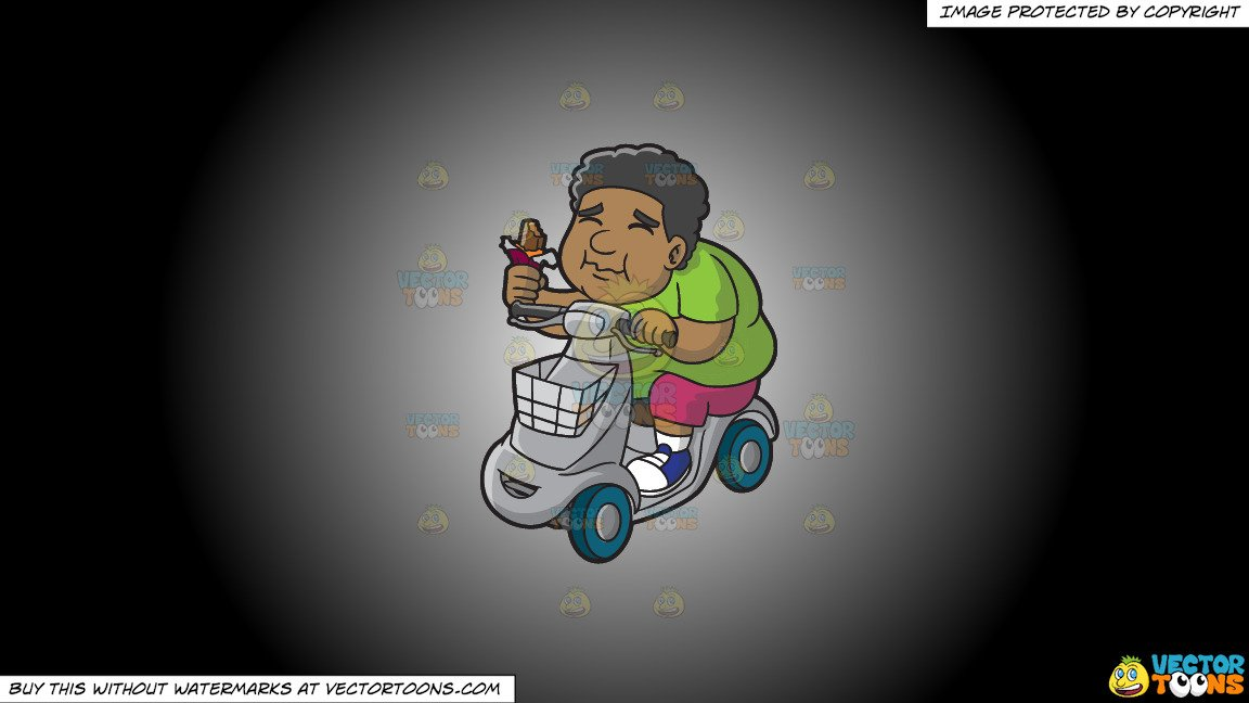 Clipart: A Black Overweight Man On A Scooter Enjoying A Chocolate Bar on a  White And Black Gradient Background.
