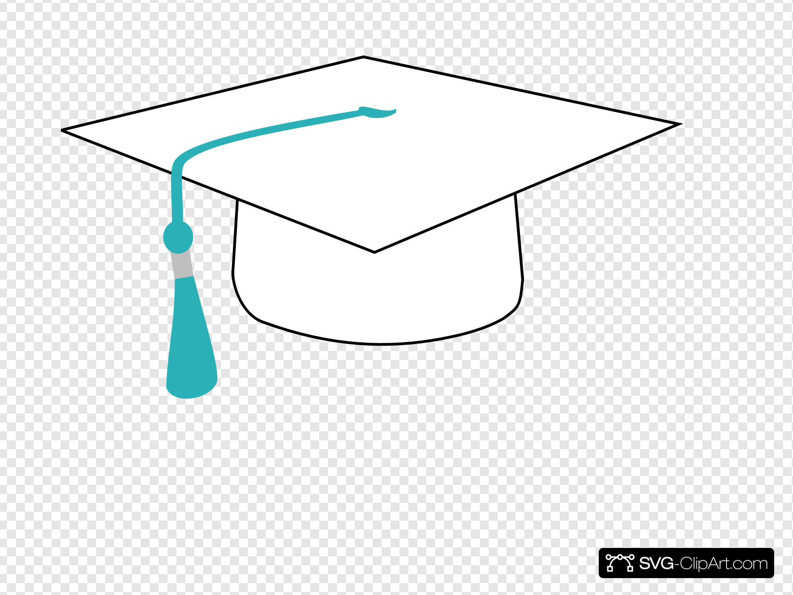White Graduation Cap With Teal Ribbon Clip art, Icon and SVG.