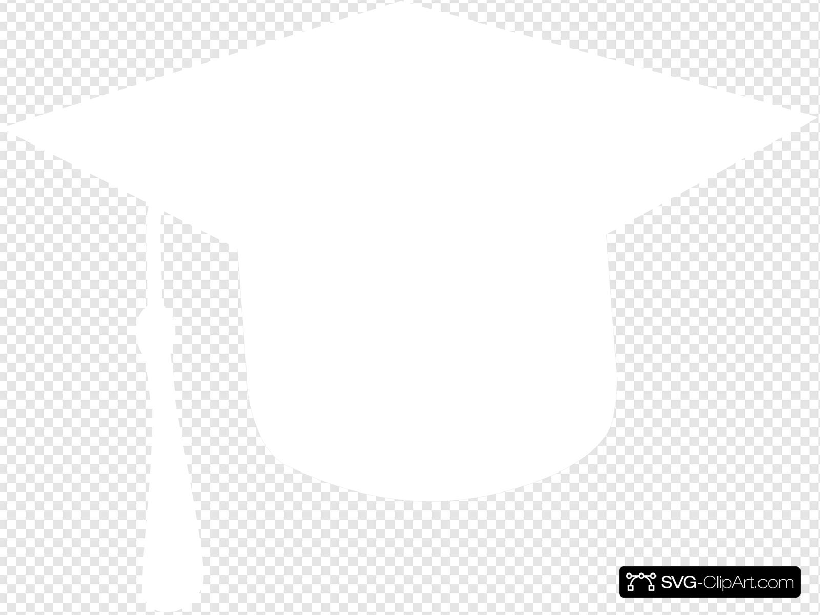 White Graduation Cap Clip art, Icon and SVG.