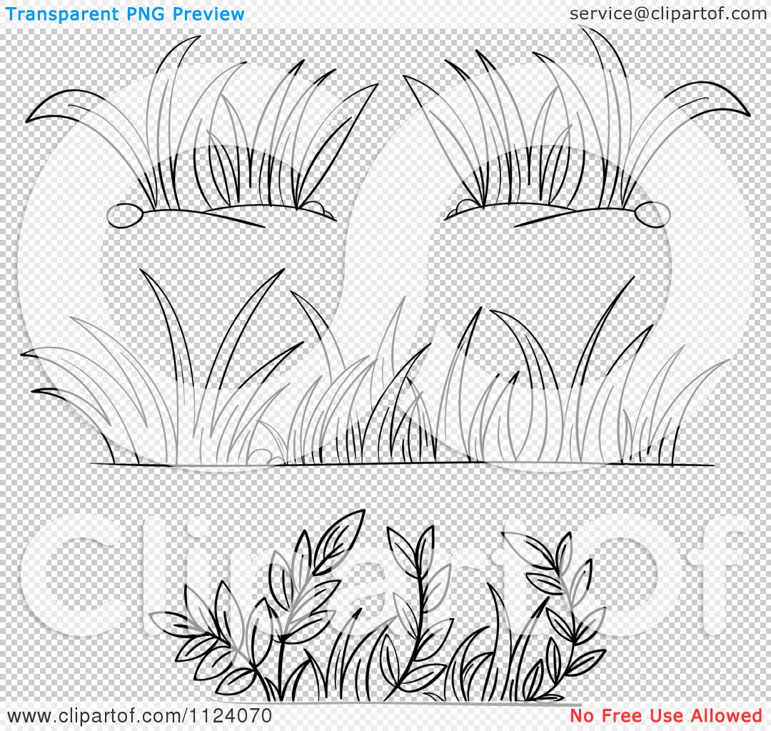 Clipart Of Black And White Borders Of Grasses And Plants.