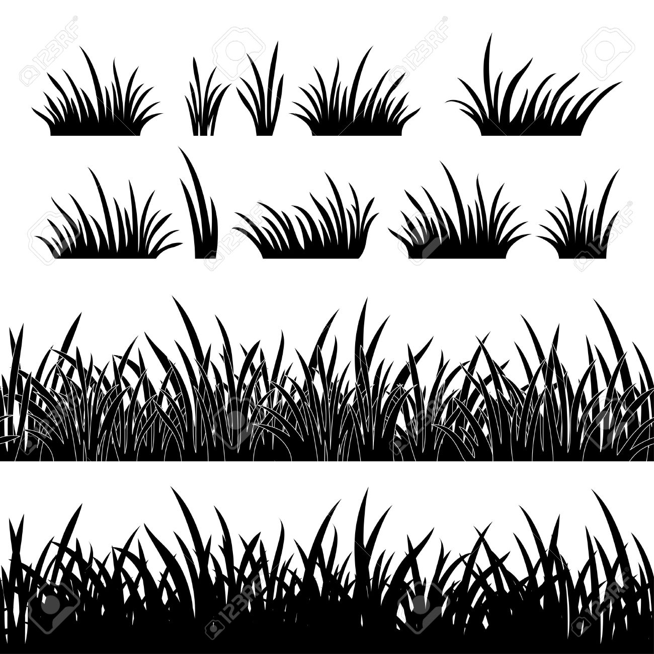 Black And White Grass Background Clipart.