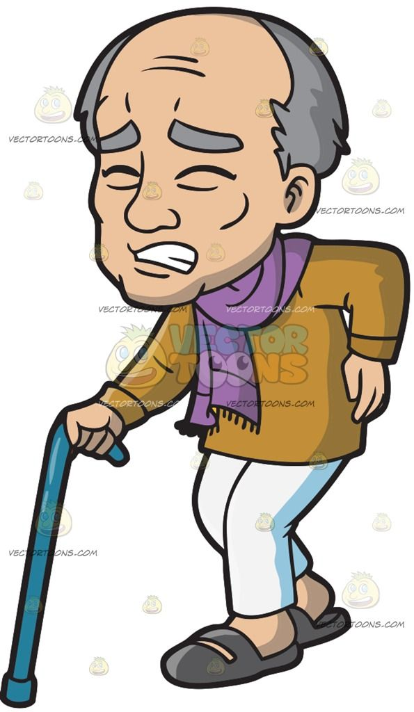 An Old Man In Pain While Walking in 2019.