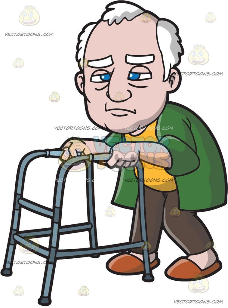 A Weakening Old Man With A Walker.
