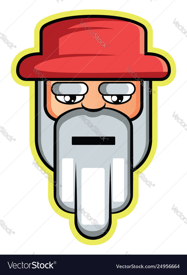 Old man with white beard and hair wearing red hat.