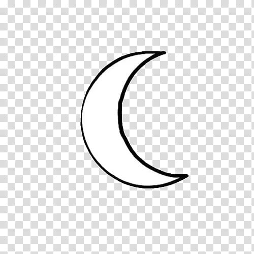 white half moon illustration transparent background PNG.