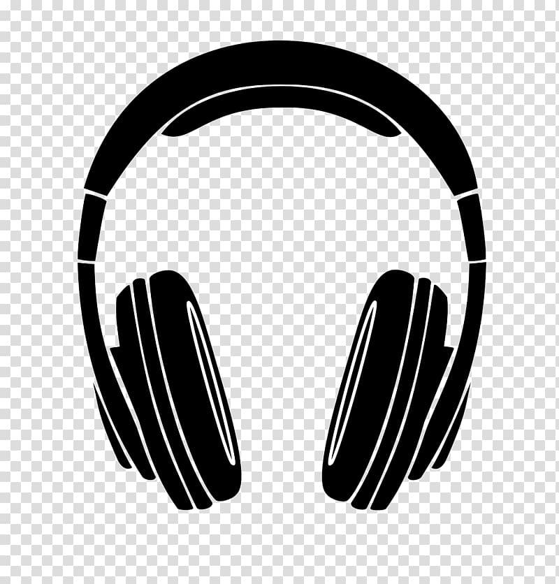 Black headphones illustration, Headphones Silhouette.