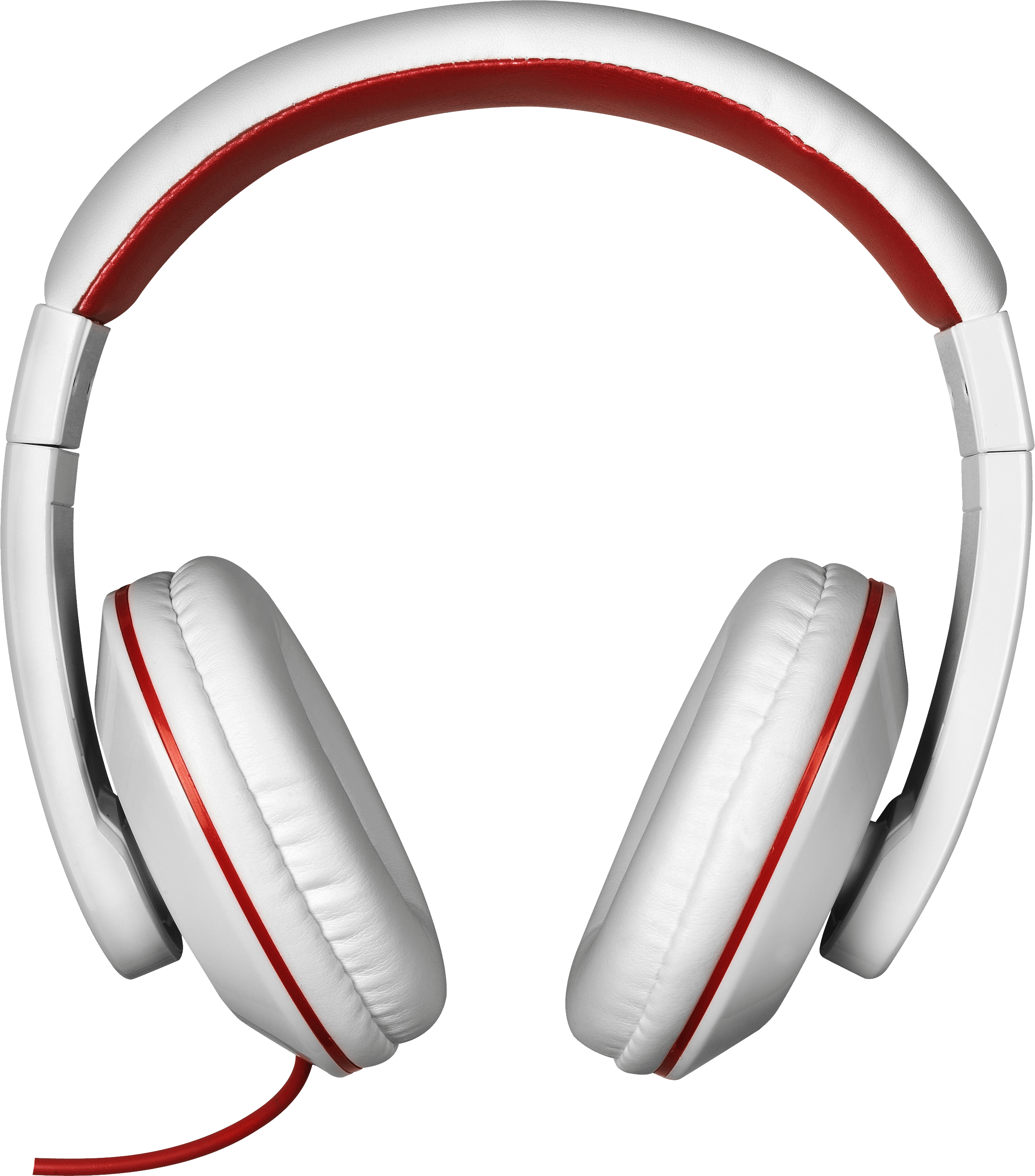 Red White Headphones transparent PNG.