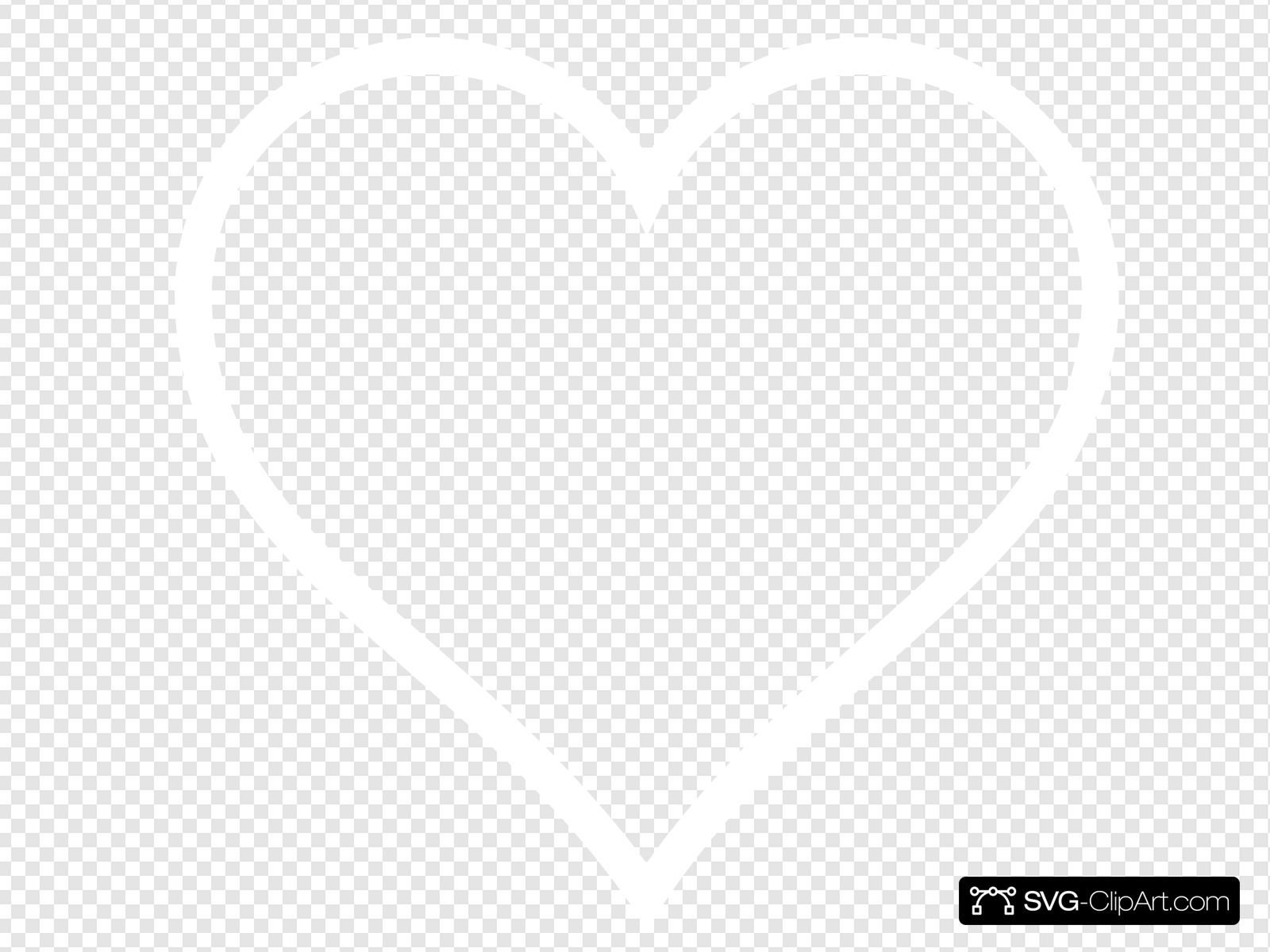 White Heart Outline Clip art, Icon and SVG.