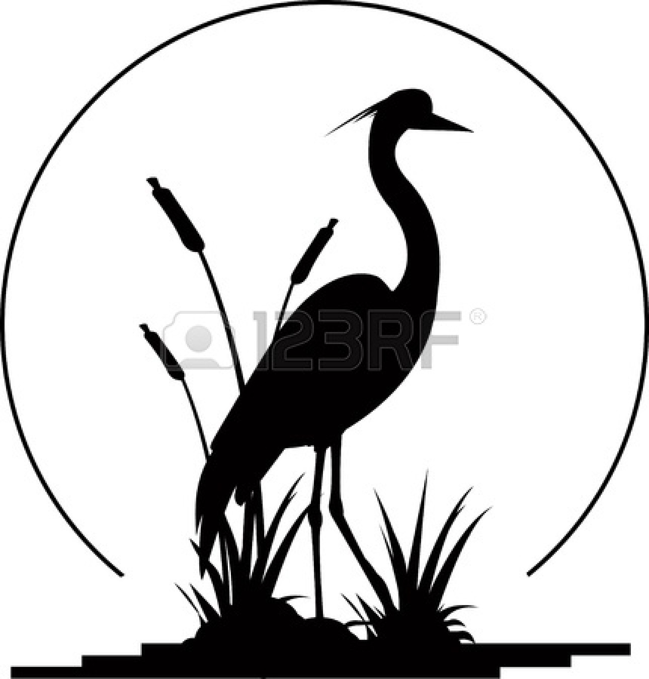 Heron Black And White Clipart.