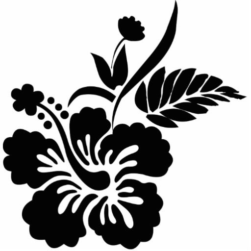 Black and White Hibiscus Flower Tattoo Design.