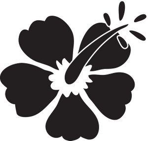 Hibiscus Black And White Clipart.