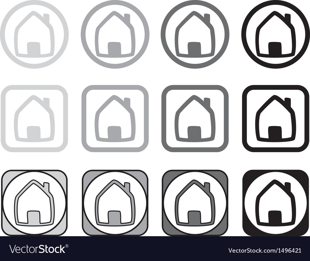 Home icon set in different shape isolated on white.