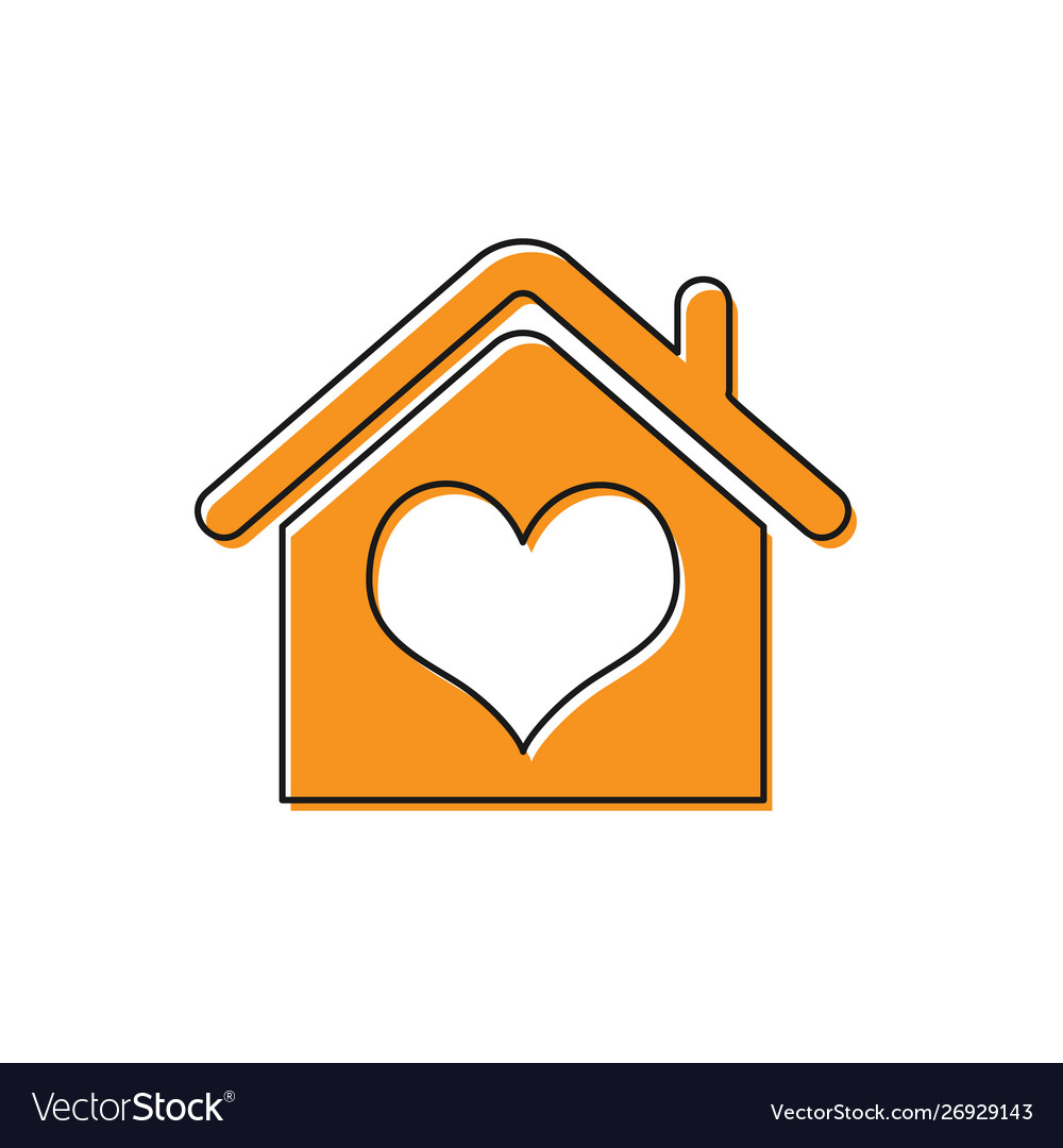 Orange house with heart shape icon isolated on.