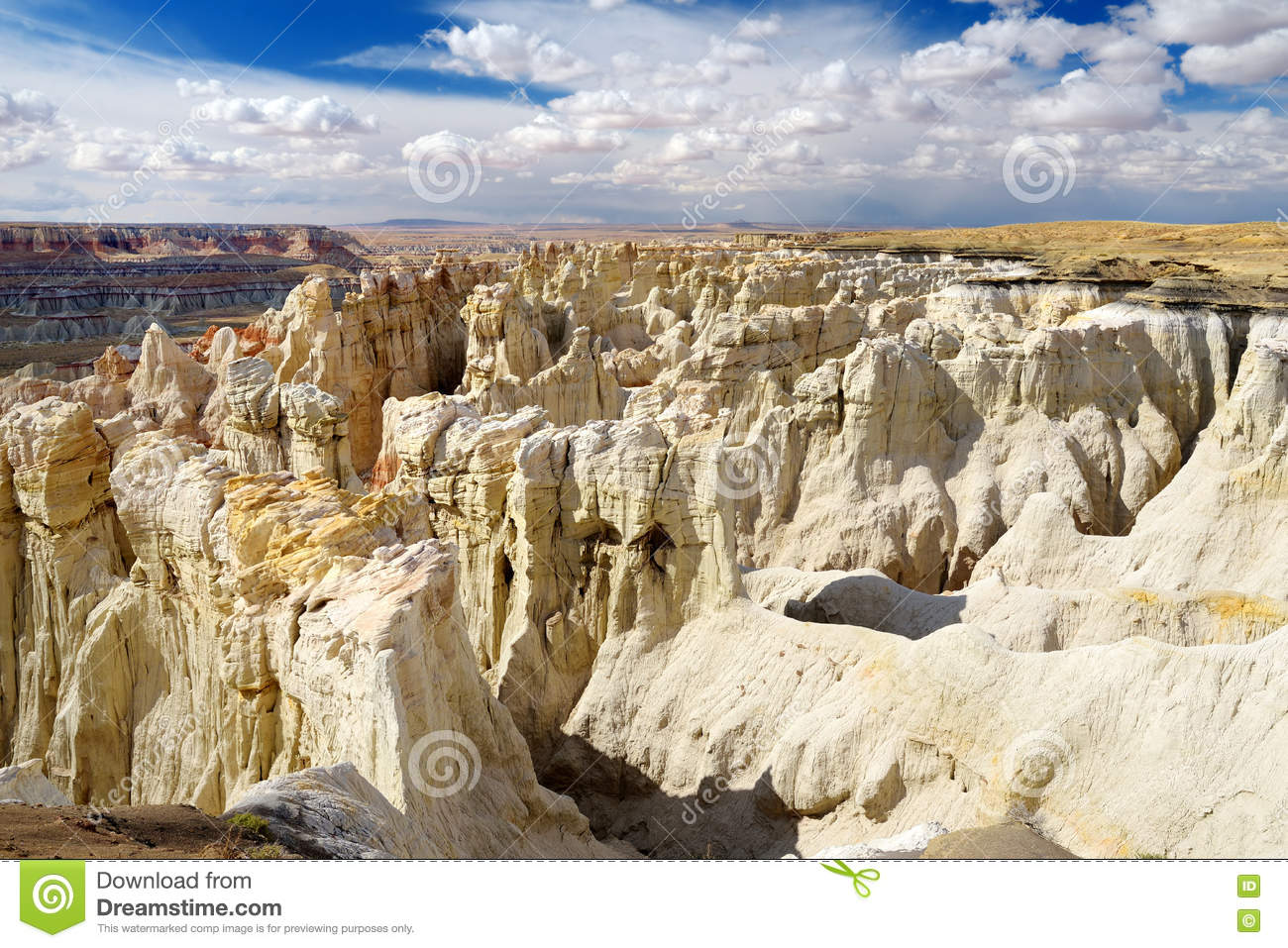 Scenic View Of Stunning White Striped Sandstone Hoodoos In Coal.