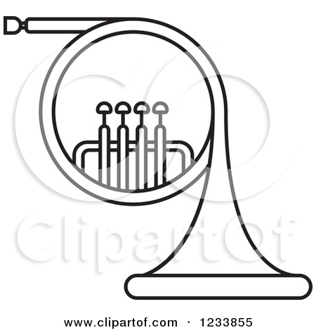 Clipart of a Black and White Horn.