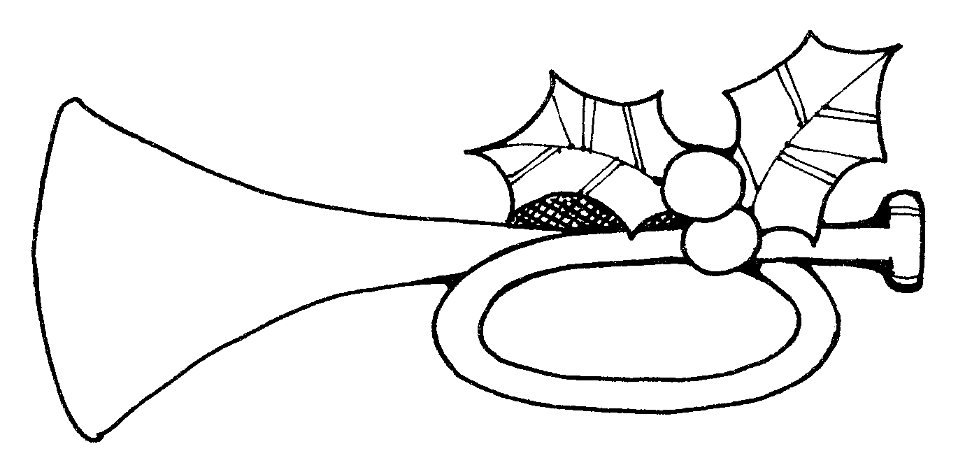 Party horn clipart black and white.